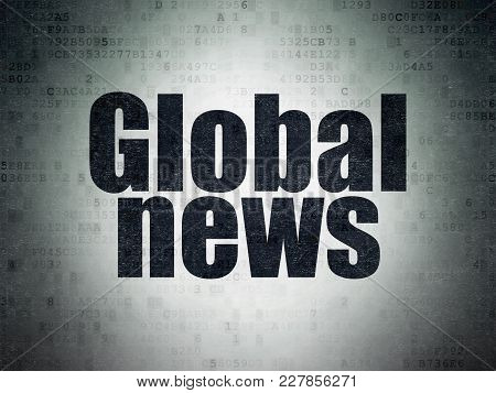 News Concept: Painted Black Word Global News On Digital Data Paper Background