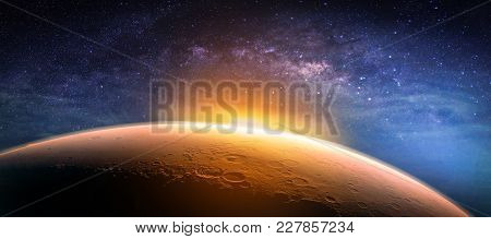 Landscape With Milky Way Galaxy. Sunrise And Planet View From Space With Milky Way Galaxy. (elements