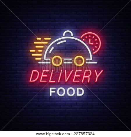 Food Delivery Neon Sign. Logo In Neon Style, Light Banner, Luminous Symbol, Bright Nightlife Neon Ad