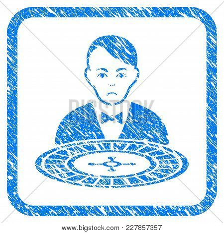 Roulette Croupier Rubber Seal Stamp Watermark. Icon Vector Symbol With Grunge Design And Dust Textur