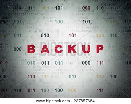 Programming Concept: Painted Red Text Backup On Digital Data Paper Background With Binary Code