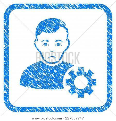 User Options Gear Rubber Seal Stamp Imitation. Icon Vector Symbol With Grunge Design And Dust Textur