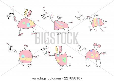 Sweet Good Mood Hand Drawn Unicorn With Pink Body, Magic Horn, Funny Wings And Tail