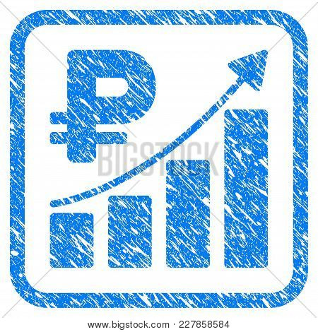 Rouble Growth Trend Rubber Seal Stamp Watermark. Icon Vector Symbol With Grunge Design And Dust Text