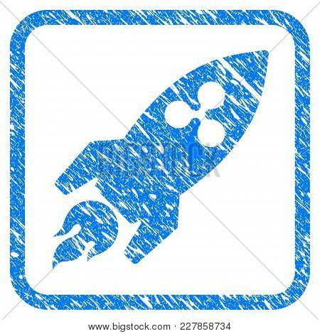 Ripple Rocket Rubber Seal Stamp Imitation. Icon Vector Symbol With Grunge Design And Dirty Texture I