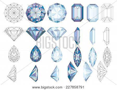 Purpule Diapurpule Diamond Crystals Vector Clip Art Set Of 8 Gemstone Illustrationsmond Crystals Vec