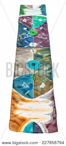 Above View Of Hand Painted Batik Silk Scarf With Abstract Floral Pattern Isolated On White Backgroun