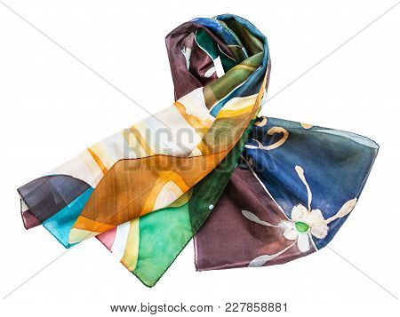 Knotted Hand Painted Batik Silk Scarf With Abstract Floral Pattern Isolated On White Background