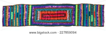Top View Of Stitched Patchwork Scarf From Silk Strips Isolated On White Background