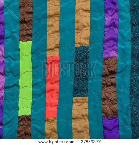 Textile Background - Stitched Patchwork Headscarf From Narrow Silk Strips