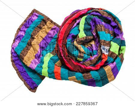 Rolled Stitched Patchwork Scarf From Silk Strips Isolated On White Background