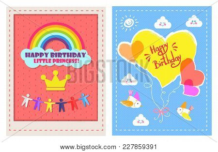 Set Of Festive Cards Happy Birthday Little Princess Vector Illustration Of Different Color Hearts Wi