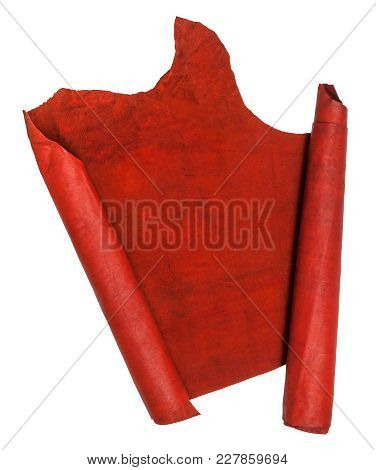 Unrolled Scroll From Red Suede Isolated On White Background