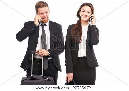 Portrait Of Business People With Suitcase Going To Trip