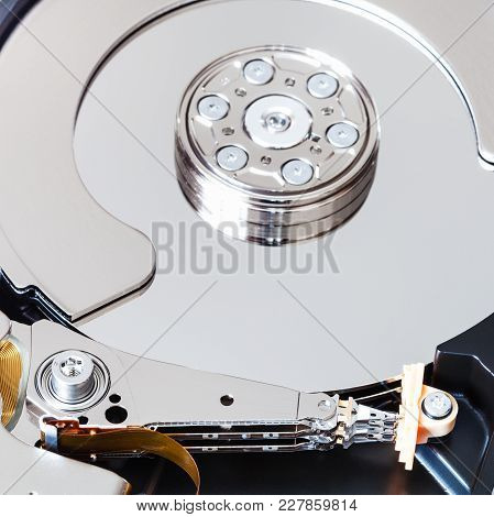 Head And Platter In Internal 3.5-inch Sata Hard Disk Drive Close Up