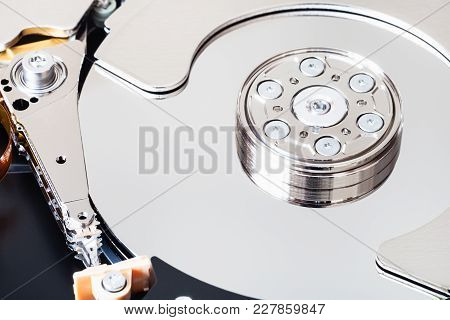 Internal 3.5-inch Sata Hard Disk Drive Without Cover Close Up