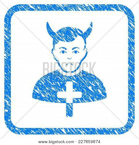 Satan Priest Rubber Seal Stamp Imitation. Icon Vector Symbol With Grunge Design And Corrosion Textur
