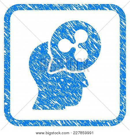 Ripple Thinking Head Balloon Rubber Seal Stamp Watermark. Icon Vector Symbol With Grunge Design And