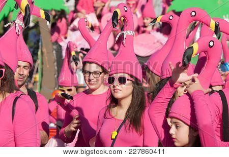 Limassol, Cyprus - February 18 2018: Happy Team Of People Dressed In Colourful Costumes Enjoying And