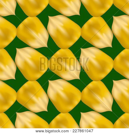 Ripe Yellow Corn Seed Seamless Pattern Isolated On Green Background