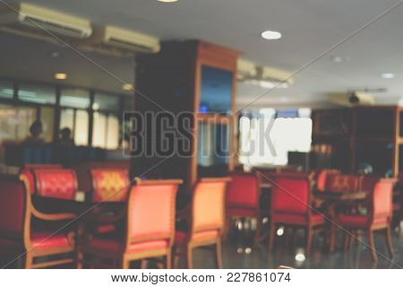 Food Court, Cafe, Coffee Shop, Restaurant Interior. Blur Defocused Background