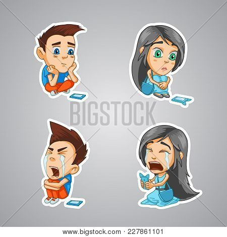 Stickers With A Girl And A Boy, Emotions Crying, Waiting For A Notice From A Loved One