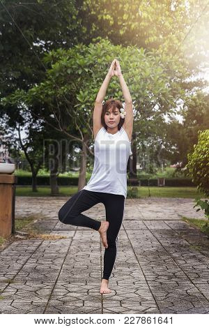 Beautiful Young Asian Woman Practicing Yoga In Evening In The Park