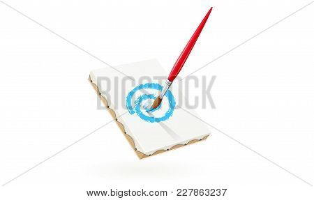 Paint Brush Drawing Picture. Icon With Art Tool. Isolated White Background. Vector Illustration.