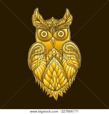 Fantasy Decorative Owl, Steampunk Vintage Style. Isolated Pattern. Cartoon Character Ornament Bird D