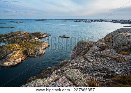 Sea Landscape With Yachts And Rocky Coastline On The South Of Sweden At Sunrise. Southern Coastline