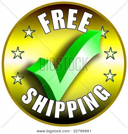 Free Shipping button/label - golden version