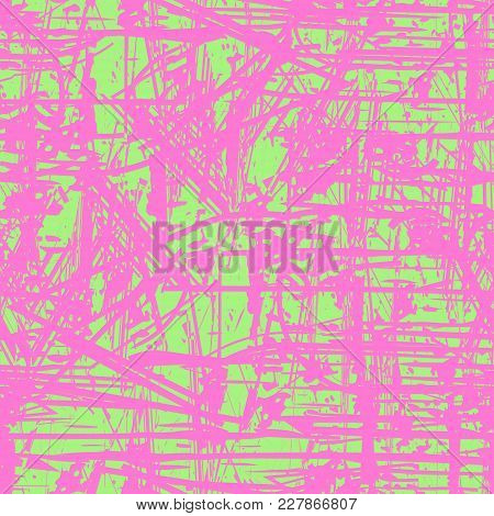 Green And Pink Seamless Background. Grunge Seamless Pattern. Abstract Vector Layer For Creating Grun