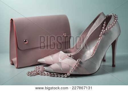 Fashion Design Woman Accessories Set. Pastel Colors.trendy Fashion Handbag Clutch Clothes. Glamor Fa