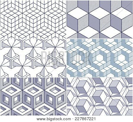 Geometric Lines Abstract Seamless Patterns Set, 3d Vector Backgrounds Cubes Collection. Technology S