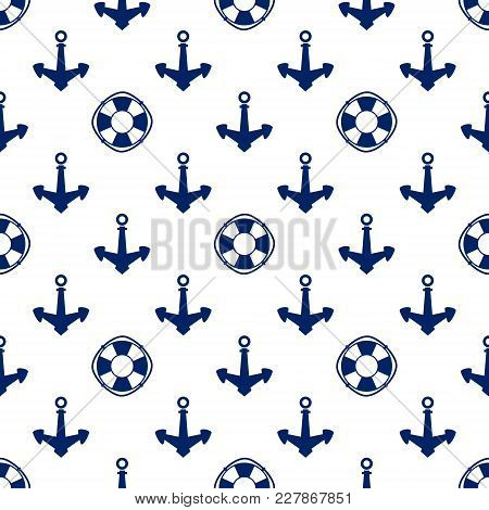 Seamless Travel Pattern , Blue Anchor And Lifebuoy On A White Background, Marine Tourism Concept , V