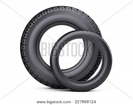 Set Of Two Tires. New Car Wheels For Cars And Trucks - Front Wiev. 3d Illustration Over White Backgr