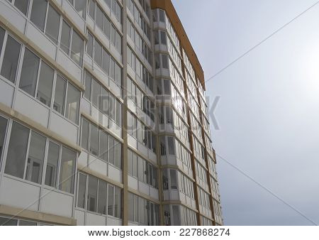 Contemporary Architecture. Residential Building. Building Fragment. Apartment Block. Modern Multisto