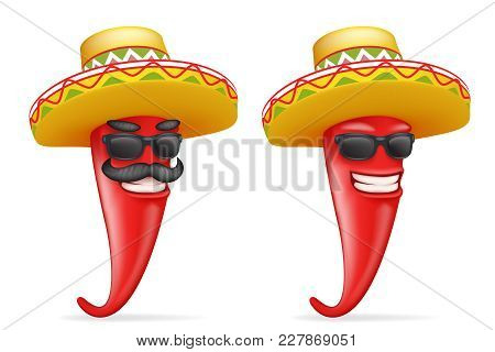 Mexican Hat Red Cool Hot Chili Pepper Sunglasses Mustache Happy Character 3d Realistic Cartoon Desig