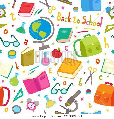 Vector Seamless Pattern With School Elements Isolated On White. Back To School Background: Backpack,