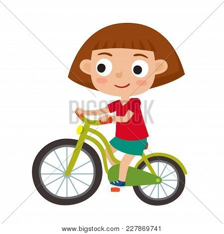 Cartoon Girl Riding A Bike Having Fun Riding Bicycles Isolated On White. Happy Kid Having Fun On Wee