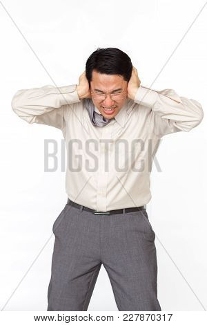 Asian Business Man Age Between 35-45 Years Old In Upset Emotional Close Up Haft Of Body On The Solid