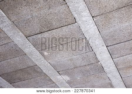 Concrete Ceiling Structure In The Modern Building Background.