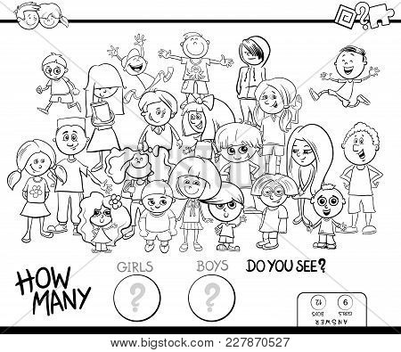 Counting Girls And Boys Activity Coloring Book