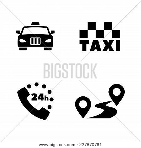 Taxi Service. Simple Related Vector Icons Set For Video, Mobile Apps, Web Sites, Print Projects And