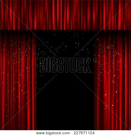 Red Open Curtains Scene Template. Easy To Edit Curtain Teplate Width And Shadow