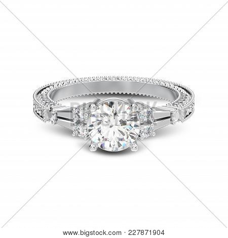 3d Illustration Isolated White Gold Or Silver Decorative Diamond Ring With Ornament With Shadow On A