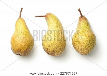 Pears isolated on white background. Abate fetel pear. Top view poster