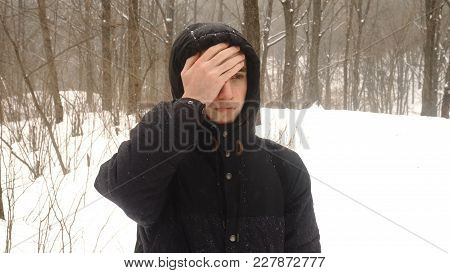 Person Facepalming In Slow Motion 4k. Portrait Shot Of Attractive Male Person Making A Facepalming P