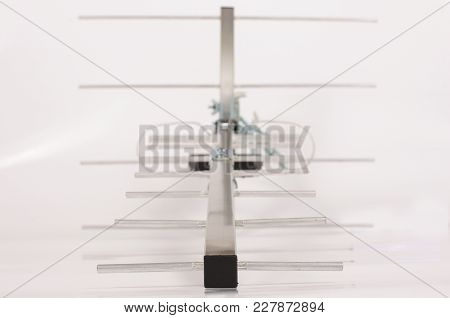 Yagi Uda Antenna For Uhf Tv Isolated On The White Background