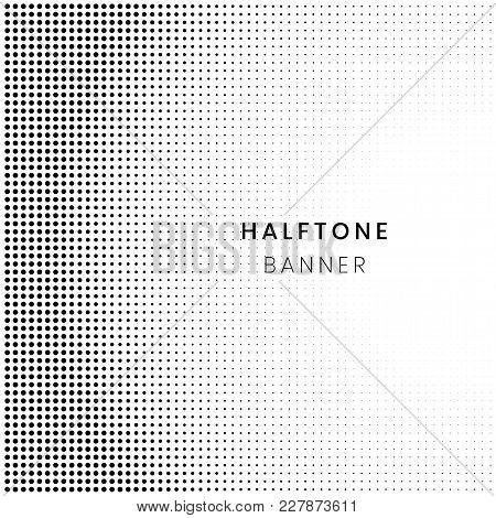Horizontal Gradient Halftone Pattern, Dots Background. Pop Art Template, Texture Banner. Vector Illu